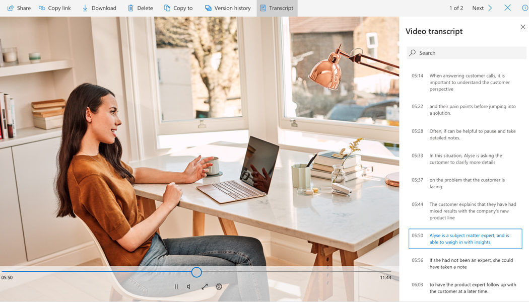 video and audio transcription service in OneDrive and SharePoint